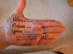 Writing Advice Written on Writers' Hands - Jody Lynn Nye