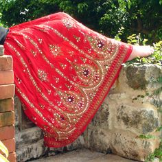 Gypsy Skirt: Bohemian Red Maxi Skirt, Flowy Indian Boho Crinkle Peasant Skirt, Floral Sequin Cover Up on Etsy, $37.00