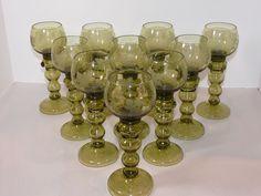 (10) Antique Green Roemer Rhine Wine Hocks Prunts Etched Hollow Stem Hand Blown #unknown