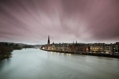 Perth on a jolly windy evening from Smeatons Bridge over the River Tay looking down towards St Matthews Church. St Matthews, Perth Scotland, Color Stories, Places, Photography, Inspiration, Scotland, Biblical Inspiration, Photograph