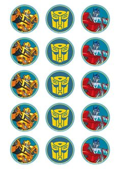 Transformers - Standard licensed cupcake toppers - Edible Image P. Transformers Cupcakes, Transformers Birthday Parties, Transformers 5, Cupcake Toppers, Rescue Bots Birthday, Rescue Bots Cake, Transformer Birthday, Cupcake Images, Cool Birthday Cakes