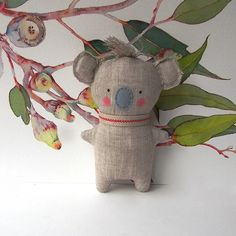 Baby Koala and Eucalyptus art print by Softies, Fabric Toys, Fabric Crafts, Koala Nursery, Nursery Toys, Easy Sewing Projects, Sewing Crafts, Handmade Stuffed Animals, Baby Koala