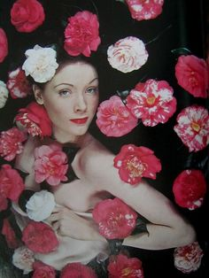 Woman with camelias, photo by Erwin Blumenfeld, 1943 Vintage Fashion Photography, Fine Art Photography, Gq, Dada Collage, Vogue Covers, Fashion Mode, Vintage Vogue, Vintage Hollywood, 1940s