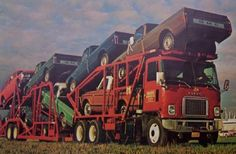 GMC 9500with brand new C10 Chevys and GMC, towed this transport company many times in the 70's.