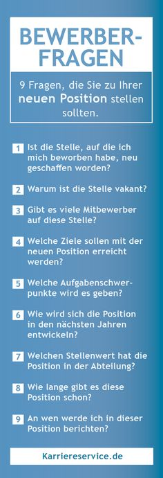 Bewerberfragen für das Vorstellungsgespräch 9 questions you should ask in the interview to find out about the new position. Dental Jokes, Bond Issue, Political Environment, Job Info, Busy At Work, New Career, Human Resources, Better Life, Good To Know