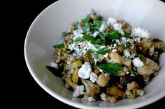 israeli couscous & wheat berry with veggies and goat cheese