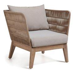 La Forma Bellano chaise longue eucalyptus / corde avec coussin beige - Lilly is Love Outdoor Lounge, Outdoor Daybed, Outdoor Armchair, Outdoor Chairs, Modern Armchair, Outdoor Dining, Affordable Outdoor Furniture, Outdoor Living Furniture, Beige Cushions