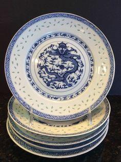 Set 5 Blue & White Asian Porcelain Dragon Plates Translucent Rice Eyes China