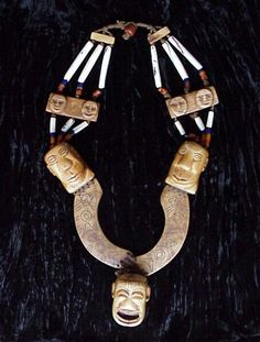 "Naga, Ceremonial Necklace | Three Bone Heads Connected By Arches Of Tattooed Bone on Necklace Of Antique Conch Shell Tubular Beads, Very Rare High Status ""Nupti"" Antique Orange/Brown Glass Beads, Cobalt Glass Beads, With Connectors Of Carved Bone. 
