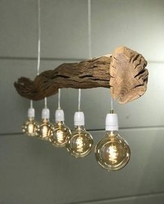 """of 185 cm old Oak branch and lampshades in model and color of your choice.Ceiling lamp of 185 cm old Oak branch and lampshades in model and color of your choice. Ceiling lamp of old oak branch. Discover board """"DIY Furniture"""" on Wooden Chandelier, Wood Lamps, Chandelier Creative, Driftwood Lamp, Ceiling Chandelier, Chandeliers, Diy Lampe, Old Kitchen, Kitchen Stuff"""
