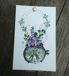 Witch Painting, Witch Art, Tattoo Drawings, Art Drawings, Crystal Tattoo, Witch Tattoo, Psy Art, Desenho Tattoo, Book Of Shadows