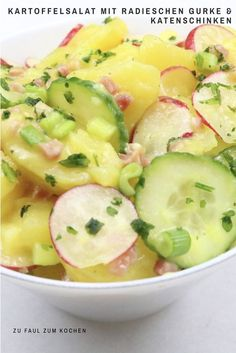 Salad with Radish Cucumber and Cat Ham - Too Lazy to Cook? - Potato salad with radish cucumber and cat ham -Potato Salad with Radish Cucumber and Cat Ham - Too Lazy to Cook? - Potato salad with radish cucumber and cat ham - Salad Recipes Healthy Lunch, Salad Recipes For Dinner, Chicken Salad Recipes, Ham Salad, Cucumber Salad, Potato Salad, Radish Salad, How To Cook Potatoes, Greens Recipe