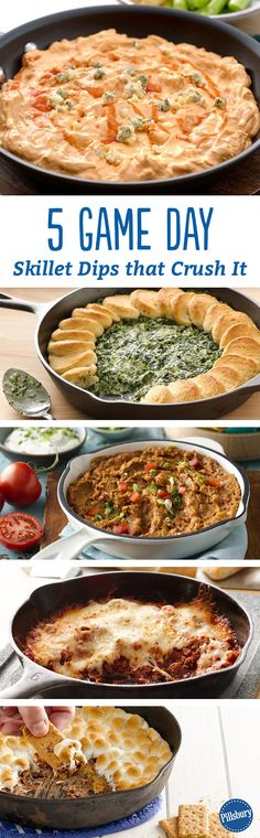 Easy, satisfying skillet dips to feed hungry fans. Three-ingredient Spinach Alfredo and 15-Minute Buffalo Chicken? Oh yeah!
