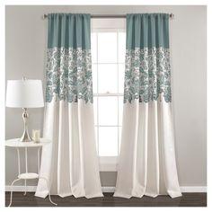 """Estate Garden Print Room Darkening Window Curtain Set Blue (84""""x52"""") - Lush Décor"""