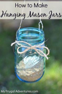 How to Make Hanging Mason Jars- so easy & inexpensive to make!