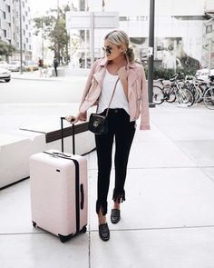 pastel pink leather jacket, pink luggage outfit away Biker Jacket Outfit, Leather Jacket Outfits, Moto Jacket, Motorcycle Jacket, Pink Outfits, Fall Outfits, Travel Outfits, Perfecto Rose, Pink Luggage