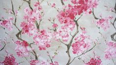 Cherry Blossom Fabric Pink Grey Floral Printed Cotton Textile Material Sold by Meter
