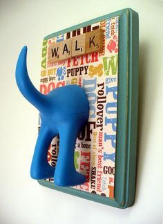 Cute leash hanger - made with the hook from IKEA - Christmas gift idea for the dogs in the family :-)