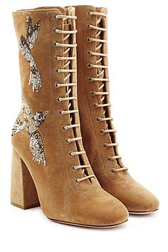 Red Valentino | Embroidered Lace-up Suede Boots