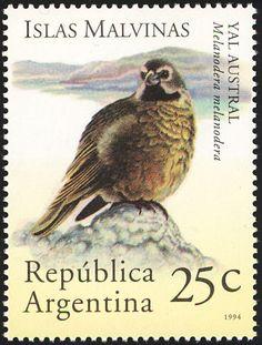 White-bridled Finch (Melanodera melanodera) MAINLAND ARGENTINA Stamp