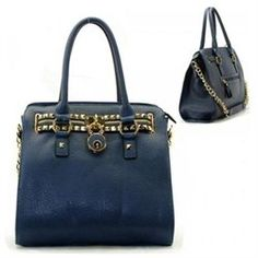 Purse And Bag Handbag Polyurethane Gold Metal Studs Lock Stud Zip