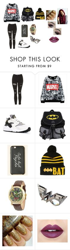 """Marvel"" by camelia-kaylahana on Polyvore featuring Topshop, NIKE, Marvel, Noir and Fiebiger"