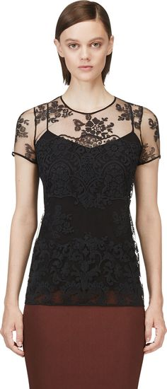 Burberry Prorsum - Black Tulle Floral Embroidered Top