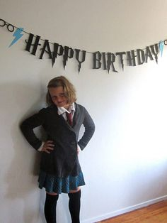 "Hang a ""Happy Birthday"" banner that's perfectly to theme. 31 Ways To Throw The Ultimate Harry Potter Birthday Party Harry Potter Diy, Harry Potter Motto Party, Objet Harry Potter, Estilo Harry Potter, Harry Potter Banner, Harry Potter Fiesta, Harry Potter Thema, Classe Harry Potter, Theme Harry Potter"