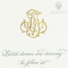 An intricate monogram designed exclusively for a Bell'INVITO bride and groom shown in gold and pale green engraved printing on thick 100% cotton paper.