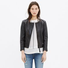 Buttery soft leather. A clean, streamlined shape with motorcycle jacket-inspired details like zippered pockets and quilted panels. Fitted close to the body for a sleek look.