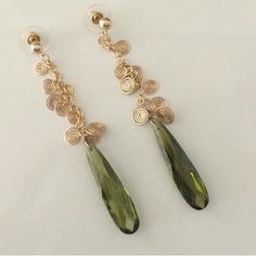 """CZECH CRYSTAL AND GOLD EARRINGS 14k gold chain, wire, and posts with green Czech crystal, 3"""" long, hand made by another Posher. Absolutely gorgeous. I never wear them and they are too beautiful to be sitting in a box. Jewelry Earrings"""