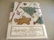 """52"""" square fabric tablecloth- holiday gingerbread, christmas trees, snowmen, etc"""