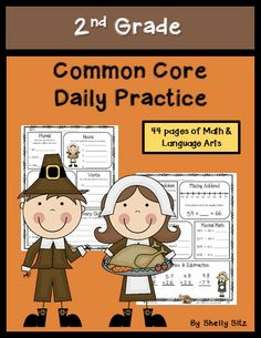 Common Core Math and Language Arts Daily Practice for Second Grade (November) 2nd Grade Math, First Grade, Second Grade, Grade 2, Thanksgiving Math, Free Math Worksheets, Common Core Math, New Teachers, Student Teaching