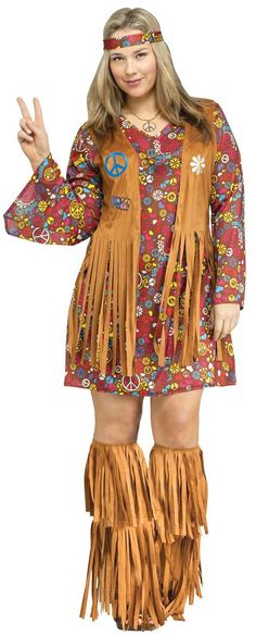 Plus Size Peace and Love Hippie Costume For Women from CostumeExpress.com