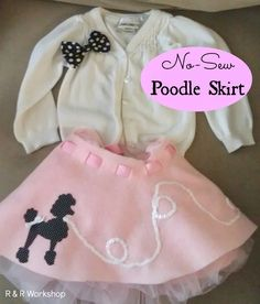 Easy! No Sew Poodle Skirt Tutorial- Cutest little girl costume idea!!