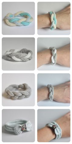 décembre 2011 Bracelets au tricotin - www. Knitting Projects, Crochet Projects, Knitting Patterns, Crochet Patterns, Bracelet Crochet, Spool Knitting, Knitting Machine, Loom Craft, Crochet Diy