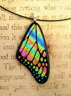 Butterfly Wing Fused Glass Pendant Rainbow Swirl by fusedelegance, $30.00