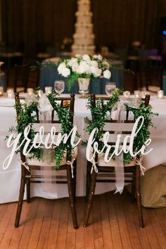 These beautiful calligraphy bride & groom signs are an adorable accessory to hang on the chair backs of the wedded couple!