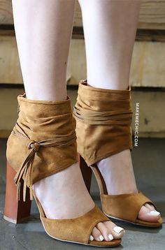 Tassel Ankle Cuff Chunky Heels
