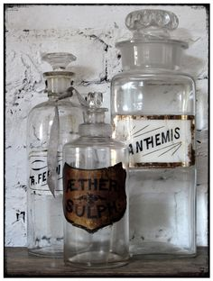 Antique apothecary. Always loved these beautiful bottles, especially when they have their mysterious labels.