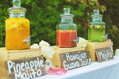 Add a trio of tropical-inspired signature drinks to your reception. ideas food 15 Unique Ways to Plan a Tropical-Themed Wedding Tiki Wedding, Beach Wedding Reception, Reception Ideas, Rasta Wedding, Wedding Ceremony, Wedding Ideas Evening, Wedding Receptions, Beach Wedding Foods, Drinks Wedding