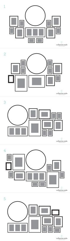Layout for a gallery wall, starting with a large round clock. That's what I…