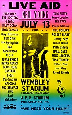Live Aid (July : Poster for the concert in Philadelphia Freddie Mercury, Restaurant History, Les Satellites, Billy Ocean, Live Aid, Rick Springfield, Classic Rock And Roll, Greys Anatomy Memes, Tour Posters