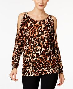 29.99$  Buy now - http://vikpp.justgood.pw/vig/item.php?t=51kud759350 - Animal-Print Cold-Shoulder Sweater, Only at Macy's