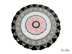 Colorful Crochet Doily, Black, Gray and Pink Doily, Round Doily, Centrino Rotondo (Cod. 83)