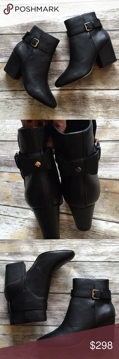 """NWT Kate Spade Leather Booties NWT Kate Spade Leather Booties. Loop and buckle closure. Finished with a Kate spade now on then back. 3"""" heel. Comes with box. Size 8.5 but Runs a bit small so I tagged it as size 8. kate spade Shoes Ankle Boots & Booties"""