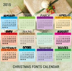 Free Christmas Fonts in the form of a 2015 Calendar  ~~ {12 free fonts w/ easy download links}