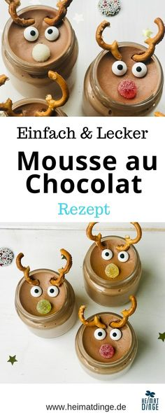Weihnachtsdessert im Glas: leckeres Rezept Rudolph Mousse au Chocolat - Delicious recipe for a quick Rudolph Mousse au Chocolat for Christmas. A mouse au chocolat is quick and easy to prepare and can Desserts In A Glass, Mini Desserts, Christmas Desserts, Christmas Christmas, No Bake Chocolate Cake, Chocolate Mousse Recipe, Oreo, Chocolat Recipe, Dessert Mousse