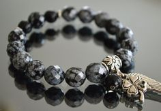 Sparkling Snowflake Obsidian, Onyx Bracelet with Angel Wing and Four Leaf Clover Charms... Choose your own charms... by iyildiz, $22.00