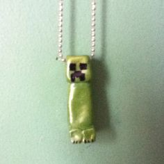 Made this Minecraft necklace with air dry clay and fingernail polish :D I'm so proud of myself